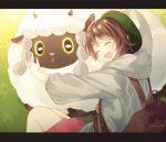 1girl ^_^ backpack bag bangs brown_hair cardigan closed_eyes day dress gen_8_pokemon gomzi green_headwear grey_cardigan happy heart hood hood_down hooded_cardigan hug laughing letterboxed long_sleeves outstretched_arm pink_dress pokemon pokemon_(creature) pokemon_(game) pokemon_swsh sheep short_hair smile tam_o'_shanter wooloo yuuri_(pokemon)
