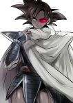 1boy armor black_eyes black_hair cape dark_skin dragon_ball dragon_ball_z katori_(katokichi) male_focus muscle scouter short_hair smile solo spiky_hair tail tullece white_cape wristband