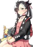 1girl :o absurdres asymmetrical_bangs backpack bag bangs berries black_choker black_jacket black_nails blush can choker commentary_request dress e-co earrings eating gen_8_pokemon green_eyes hair_over_one_eye hair_ribbon highres holding holding_can jacket jewelry long_hair long_sleeves looking_at_viewer mary_(pokemon) morpeko nail_polish open_clothes open_jacket parted_lips pink_dress pokemon pokemon_(creature) pokemon_(game) pokemon_swsh red_ribbon ribbon simple_background sitting soda_can twintails white_background
