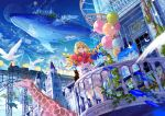 1girl aircraft airplane architecture balcony balloon bird blonde_hair bloomers blue_eyes blue_sky blurry bouquet bow building canvas_(object) castle commentary_request day dirigible dress fantasy ferris_wheel fish flock flower fuji_choko giraffe ground_vehicle hair_bow has_bad_revision has_downscaled_revision highres holding holding_bouquet hot_air_balloon locomotive long_hair long_sleeves looking_at_viewer moon original outdoors painting_(object) plant rose scenery sky smile solo standing steam_locomotive sunlight table train transparent turtle underwear whale white_dress