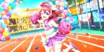 blush cheerleader green_eyes kurosawa_ruby love_live!_school_idol_festival_all_stars pink_hair short_hair smile wink