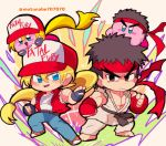2boys 2others baseball_cap black_hair blonde_hair capcom capcom_vs_snk chibi copy_ability cosplay denim dougi fatal_fury fingerless_gloves gloves hair_down hal_laboratory_inc. hat highres hoshi_no_kirby human jeans kirby kirby_(series) long_hair looking_at_viewer male_focus motunabe707070 multiple_boys nintendo pants pink_puff_ball ponytail ryuu_(street_fighter) snk sora_(company) star street_fighter super_smash_bros. terry_bogard terry_bogard_(cosplay) the_king_of_fighters vest