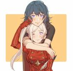 2girls alternate_hairstyle artist_name blue_eyes byleth_(fire_emblem) byleth_(fire_emblem)_(female) cheek_pinching couple edelgard_von_hresvelg eyebrows_visible_through_hair fire_emblem fire_emblem:_three_houses gloves green_hair hug hug_from_behind looking_at_viewer medium_hair multiple_girls one_eye_closed pinching quill red_gloves side_ponytail silver_hair smile twitter_username upper_body violet_eyes yukari_(bryleluansing) yuri