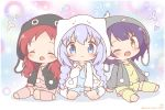 3girls ^_^ animal_ears animal_hood blue_camisole braid bunny_hood character_hood chibi chimame-tai closed_eyes commentary_request drawstring eyebrows_visible_through_hair fake_animal_ears fang flower_(symbol) girl_sandwich gochuumon_wa_usagi_desu_ka? grey_jacket hair_ornament hood hood_up jacket jouga_maya kafuu_chino kneehighs light_blue_hair long_hair long_sleeves loungewear mitarashi_neko_(aamr7853) multicolored multicolored_background multiple_girls natsu_megumi no_shoes one_eye_closed open_clothes open_jacket pink_camisole pink_legwear pink_shorts polka_dot polka_dot_background pom_pom_(clothes) rabbit_ears redhead sandwiched seiza shorts sidelocks sitting smile toeless_legwear twin_braids twitter_username white_jacket x_hair_ornament yellow_camisole yellow_legwear yellow_shorts
