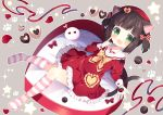 1girl animal_ears azur_lane bow brown_hair candy cat_ears cat_tail chocolate chocolate_heart dress fang finger_to_mouth food green_eyes hair_bow hat heart kneehighs knees_together_feet_apart lying mutsuki_(azur_lane) on_back open_mouth red_dress red_headwear ribbon sailor_collar sailor_dress short_dress short_hair short_twintails smile solo striped striped_legwear tail tsukimi_(xiaohuasan) twintails