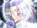 blue_hair flower green_eyes himawari_mikishin kojirou_(pokemon) petals pokemon pokemon_(anime) rose sparkle team_rocket