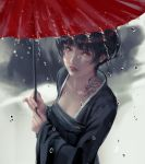 1girl bangs black_hair black_kimono breasts collarbone day dragon_tattoo eyebrows_visible_through_hair eyelashes hair_between_eyes hands_up highres holding holding_umbrella japanese_clothes kimono lips lipstick long_sleeves looking_at_viewer makeup nose obi oriental_umbrella original outdoors paid_reward parted_lips patreon_reward rain red_eyes red_lips red_lipstick sash short_hair solo tattoo umbrella upper_body water_drop wide_sleeves wlop
