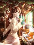 1girl absurdres bangs bench blurry_foreground brown_hair flower highres indoors long_sleeves looking_at_viewer low_twintails original ornament painting_(object) paper paper_stack shelf sidelocks skirt smile standing stuffed_animal stuffed_cat stuffed_toy table teddy_bear twintails vase window yoliyoligirl