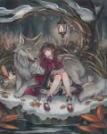 1girl alcohol animal apple bangs basket black_hair bow braid bread food forest frills fruit green_eyes highres ivy lantern leaf little_red_riding_hood little_red_riding_hood_(grimm) long_hair nature original oversized_animal petting sitting snow twin_braids very_long_hair wine wolf zoff_(daria)
