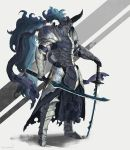 armor artist_name commentary_request dual_wielding full_armor full_body gauntlets helmet holding holding_sword holding_weapon horns long_hair original purple_hair red_eyes ritu_kotokai shoulder_armor simple_background sword two-tone_background very_long_hair weapon