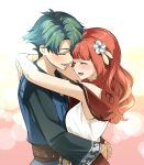 1boy 1girl alm_(fire_emblem) celica_(fire_emblem) closed_eyes dress earrings fire_emblem fire_emblem_echoes:_shadows_of_valentia flower from_side green_hair hair_flower hair_ornament hug jewelry long_hair long_sleeves misu_kasumi open_mouth redhead ring short_hair upper_body