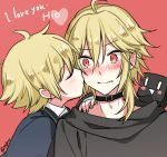 blonde_hair blush cheek_kiss closed_eyes closed_mouth kiss looking_at_another male_focus mizuhoshi_taichi oliver_(vocaloid) one_eye_closed red_background red_eyes sailor_collar simple_background tearing_up upper_body vocaloid yohioloid