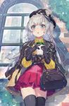 1girl :o absurdres against_wall bag bangs black_gloves black_headwear black_jacket black_legwear blue_eyes brick_wall cabbie_hat coat coffee_cup commentary_request cowboy_shot cup day disposable_cup door eyelashes fog glass_door gloves handbag hat highres holding holding_cup huge_filesize jacket jacket_on_shoulders kikkaiki lamp leaf legs_together long_hair long_sleeves melonbooks miniskirt on_shoulder open_clothes open_jacket original outdoors pleated_skirt red_skirt sidelocks sideways_hat silver_hair skirt snow snowing solo standing sweater thigh-highs transparent turtleneck turtleneck_sweater two_side_up winter winter_clothes yellow_sweater zettai_ryouiki