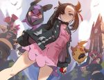>_o 1girl 2boys ;d bird black_choker black_hair black_jacket black_nails black_shirt brown_pants choker clock clock_tower commentary day dress english_commentary gen_8_pokemon green_eyes hair_ribbon holding holding_poke_ball jacket james_ghio long_hair long_sleeves mary_(pokemon) midriff morpeko multiple_boys nail_polish one_eye_closed open_clothes open_jacket open_mouth outdoors pants pink_dress poke_ball poke_ball_(generic) pokemon pokemon_(creature) pokemon_(game) pokemon_swsh puffy_long_sleeves puffy_sleeves red_ribbon ribbon shirt sleeves_past_wrists smile standing team_yell team_yell_grunt tower twintails