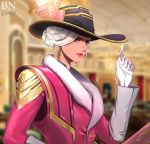 1girl absurdres ace_of_spades ashe_(overwatch) bbuni blurry blurry_background card earrings fur_trim gloves hat hat_ornament highres holding holding_card jewelry lipstick long_sleeves looking_at_viewer makeup mole_above_mouth overwatch red_eyes short_hair solo upper_body watermark white_gloves white_hair