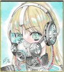 1girl absurdres ao_miduki blonde_hair cable calligraphy_brush commentary_request cyberpunk eyebrows_visible_through_hair gas_mask green_eyes headphones headset highres long_hair looking_at_viewer original paintbrush photo science_fiction scouter signature solo traditional_media watercolor_pencil_(medium)