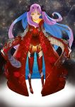 1girl absurdres bangs bodysuit commentary_request eyebrows_visible_through_hair fate/grand_order fate_(series) highres huge_filesize kyoken long_hair looking_at_viewer multicolored_hair open_mouth parted_bangs red_bodysuit red_eyes ribbon solo space_ishtar_(fate) star tagme two-tone_hair two_side_up very_long_hair