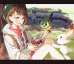 1girl :d artist_name backpack bag bangs bob_cut bowl brown_eyes brown_hair cardigan collared_dress day dress feeding feet_out_of_frame flat_chest food from_side gen_8_pokemon gomzi grass green_headwear grey_cardigan grookey happy hat holding hood hood_down hooded_cardigan knees_up letterboxed long_sleeves on_ground open_mouth outdoors outstretched_arm pink_dress poke_ball_symbol pokemon pokemon_(creature) pokemon_(game) pokemon_swsh pond reaching running scorbunny short_hair sitting skewer smile sobble sparkle splashing swept_bangs tam_o'_shanter tiptoes tomato tongue tongue_out tree tree_shade under_tree wading water yuuri_(pokemon)