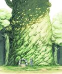 1boy character_request cloak commentary_request day facing_away forest giant_tree graphite_(medium) grass green_theme long_hair mechanical_pencil nature offering pencil solo staff standing tales_of_(series) tales_of_zestiria temple traditional_media watari_taichi white_hair