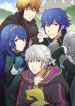 1boy 3boys ? ameno_(a_meno0) armor bandana black_cape black_eyes black_gloves blue_eyes blue_gloves blue_hair book cape castle chrom_(fire_emblem) cloak closed_mouth collarbone commentary_request eyebrows_visible_through_hair fingerless_gloves fire_emblem fire_emblem_awakening gaius_(fire_emblem) gloves hair_between_eyes headband holding holding_book hood hood_down hooded_cloak long_hair looking_at_another looking_at_viewer lucina_(fire_emblem) multiple_boys open_mouth orange_eyes orange_hair parted_lips robin_(fire_emblem) robin_(fire_emblem)_(male) short_hair shoulder_armor sweatdrop tiara tree white_cape white_hair