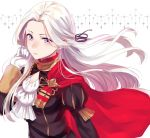 1girl cape cravat edelgard_von_hresvelg fire_emblem fire_emblem:_three_houses garreg_mach_monastery_uniform gloves hair_ribbon hand_in_hair haru_(nakajou-28) long_hair long_sleeves red_cape ribbon silver_hair simple_background solo uniform upper_body violet_eyes white_gloves wind wind_lift