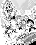 1girl alice_margatroid bow capelet coin commentary_request doll dress fifiruu fighting flying_kick frilled_hairband frills greyscale hair_bow hairband holding holding_knife hong_meiling izayoi_sakuya kicking knife long_hair long_sleeves monochrome open_mouth puppet_rings remilia_scarlet shanghai_doll short_sleeves sign smile stage star touhou