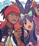 1boy 1girl arms_up black_hair blue_eyes crown dark_skin dark_skinned_male earrings gloves gym_leader iris_(pokemon) jewelry kibana_(pokemon) long_hair long_sleeves open_mouth orange_headwear pokemon pokemon_(game) pokemon_bw2 pokemon_swsh red_eyes single_glove trait_connection upper_body utusiyoturai