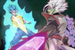 2boys arm_blade aura blue_eyes blue_hair boots corruption dougi dragon_ball dragon_ball_super earrings full_body fused_zamasu fusion gloves green_skin jewelry katori_(katokichi) long_sleeves male_focus multiple_boys muscle pointy_ears potara_earrings purple_skin short_hair simple_background smile spiky_hair standing super_saiyan_blue vegetto weapon white_gloves white_hair zamasu