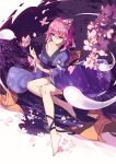 1girl bare_shoulders barefoot blue_kimono bug butterfly cherry_blossoms closed_mouth collarbone eyebrows_visible_through_hair hair_between_eyes highres insect japanese_clothes kimono legs light_smile long_sleeves off_shoulder petals pink_hair red_eyes saigyouji_yuyuko sam_ashton short_hair sitting smile solo touhou triangular_headpiece water wide_sleeves