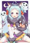 1girl :d absurdres ahoge animal_ear_fluff animal_ears bandaged_leg bandages bell between_legs black_footwear black_gloves black_hairband blue_hair bow commentary_request crescent_moon fake_animal_ears fang forehead fur-trimmed_gloves fur-trimmed_jacket fur_collar fur_trim ghost gloves hair_bow hairband hand_between_legs highres izumo_miyako jacket long_hair looking_at_viewer moon open_mouth orange_skirt paw_gloves paws pleated_skirt potemaro princess_connect! princess_connect!_re:dive red_bow sitting skirt smile solo striped striped_bow two_side_up very_long_hair violet_eyes wariza white_jacket
