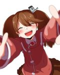 1girl blurry blurry_foreground brown_hair brown_skirt closed_eyes commentary_request depth_of_field dutch_angle gomio_(bb-k) highres japanese_clothes kantai_collection kariginu long_hair long_sleeves looking_at_viewer magatama open_mouth outstretched_arms pleated_skirt reaching_out ryuujou_(kantai_collection) skirt solo twintails visor_cap white_background