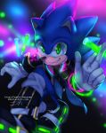 1boy arm_up belt blue_hair blue_neckwear bracelet collar deviantart_username gloves glowing glowstick green_eyes highres holding holding_test_tube insertsomthinawesome jewelry long_sleeves male_focus necktie polka_dot polka_dot_neckwear shoes smile solo sonic sonic_the_hedgehog spiky_hair test_tube white_gloves