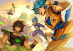 4boys above_clouds armor arms_at_sides aura backlighting bah_(dragon_ball) black_eyes black_hair blue_eyes blue_hair blurry bokeh boots broly_(dragon_ball_super) cape clenched_hand clothes_writing clouds cloudy_sky commentary crossed_arms crossed_legs depth_of_field dougi dragon_ball dragon_ball_super dragon_ball_super_broly dragon_ball_z english_commentary facial_scar fighting_stance floating flying from_side frown gloves gogeta gradient gradient_sky green_skin grey_sky grin jewelry libeuo_(liveolivel) light_rays looking_at_another male_focus monster multiple_boys muscle necklace open_mouth orange_sky outdoors pectorals piccolo pointy_ears profile red_eyes scar scar_on_cheek sharp_teeth sky smile son_gokuu space_craft spiky_hair sun sunlight sunset super_saiyan_blue teeth turban upper_body upper_teeth vegeta white_footwear white_gloves wristband