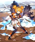 1girl ahoge bare_shoulders blue_eyes bo_ren breasts clouds commentary_request elbow_gloves fingerless_gloves full_body garter_straps gloves hairband highres leaning_forward looking_to_the_side needle orange_hair original safety_pin sewing_needle short_hair short_twintails side_slit small_breasts solo thigh-highs twintails water zipper_pull_tab