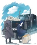 1boy 1girl blue_eyes blue_hair breasts ciel coat collar covered_eyes curry dress food glasses grey_hair ground_vehicle highres long_sleeves looking_at_viewer medium_breasts melty_blood mister_dawn motor_vehicle nun priest robe shiny short_hair smile solo tm_441 truck tsukihime type-moon