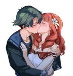 1boy 1girl alm_(fire_emblem) celica_(fire_emblem) closed_eyes dress earrings fire_emblem fire_emblem_echoes:_shadows_of_valentia flower green_hair hair_flower hair_ornament jewelry kiss long_hair long_sleeves misu_kasumi necklace redhead ring short_hair simple_background upper_body white_background