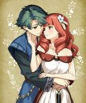 1boy 1girl adult alm_(fire_emblem) boyfriend_and_girlfriend celica_(fire_emblem) couple dress earrings fire_emblem fire_emblem_echoes:_mou_hitori_no_eiyuuou fire_emblem_echoes:_shadows_of_valentia fire_emblem_gaiden flower green_eyes green_hair hair_flower hair_ornament highres hug hug_from_behind intelligent_systems jewelry long_hair long_sleeves love misu_kasumi necklace nintendo parted_lips red_eyes redhead ring short_hair super_smash_bros.