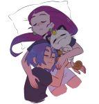 bed blue_hair highres hug kiana_mai kojirou_(pokemon) meowth musashi_(pokemon) pillow pokemon pokemon_(anime) sleeping team_rocket