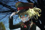 1girl blonde_hair blue_eyes blush genya_(genya67) graphite_(medium) hat highres lips long_hair military military_hat military_uniform soldier tanya_degurechaff traditional_media uniform youjo_senki