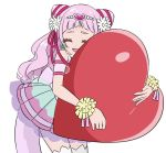 1girl :d ^_^ ^o^ back_bow bangs bare_shoulders blunt_bangs bow closed_eyes clover_earrings cure_yell detached_sleeves double_bun eyelashes flower hair_flower hair_ornament hair_ribbon heart heart_hair_ornament hug hugtto!_precure leaning_forward lipstick magical_girl makeup nono_hana open_mouth pink_hair pink_skirt pom_poms precure red_ribbon ribbon simple_background skirt smile solo star_twinkle_precure teliot thigh-highs white_background white_legwear