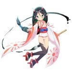 1girl bangs bare_shoulders black_hair black_legwear blue_eyes blush closed_mouth commentary_request covered_navel detached_sleeves eyebrows_visible_through_hair full_body geta hair_between_eyes holding holding_paintbrush horns japanese_clothes kimagure_blue kimono long_hair long_sleeves low-tied_long_hair obi original outstretched_arm paintbrush parted_bangs pointy_ears red_footwear sash simple_background sleeveless sleeveless_kimono smile solo swimsuit tengu-geta thigh-highs v-shaped_eyebrows very_long_hair white_background white_kimono white_sleeves white_swimsuit wide_sleeves