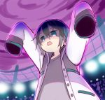 1boy black_hair blue_eyes blue_hair clouds gigantamax grey_shirt jacket long_sleeves male_focus mayuzumi_kai meito_(maze) multicolored_hair nijisanji open_clothes open_jacket outstretched_arms pink_sky pokemon pokemon_(game) pokemon_swsh shirt sky sleeves_past_fingers sleeves_past_wrists solo streaked_hair virtual_youtuber white_jacket