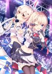 2girls ;d absurdres arm_warmers ayanami_(azur_lane) ayanami_(troubled_star_idol)_(azur_lane) azur_lane bare_shoulders belt black_skirt blonde_hair blue_eyes blue_footwear blue_skirt bow breasts brown_legwear checkered checkered_floor crop_top detached_sleeves dutch_angle frilled_skirt frills gloves glowstick hair_bow hair_ornament hat headgear highres holding holding_microphone holding_sword holding_weapon idol leg_up long_hair long_sleeves looking_at_viewer looking_back medium_breasts microphone midriff mini_hat miniskirt multiple_girls navel one_eye_closed open_mouth orange_eyes plaid plaid_skirt pleated_skirt ponytail shirt shoes short_hair skirt sleeveless sleeveless_shirt smile stage_lights stomach sword takeg05 thigh-highs top_hat v weapon white_gloves white_legwear white_shirt wide_sleeves wing_collar z23_(azur_lane) z23_(serious_idol_-_is_she_also_the_manager!?)_(azur_lane) zettai_ryouiki