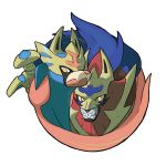 blue_fur fangs gen_8_pokemon highres legendary_pokemon looking_at_viewer multicolored multicolored_eyes no_humans oomura_yuusuke pokemon pokemon_(creature) pokemon_(game) pokemon_swsh red_eyes sword weapon wolf yellow_eyes zacian zamazenta