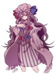 1girl blue_bow blue_ribbon bow bowtie capelet check_commentary commentary_request crescent crescent_moon_pin cropped_legs expressionless hair_bow hat hat_ribbon highres long_hair long_sleeves mob_cap patchouli_knowledge puffy_sleeves purple_hair red_bow red_neckwear red_ribbon ribbon robe signature simple_background solo touhou very_long_hair violet_eyes watermark white_background zabu_rou