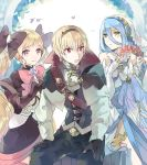 1boy 2girls azura_(fire_emblem) black_bow black_gloves black_hairband blonde_hair blue_hair bow brother_and_sister closed_mouth dress elbow_gloves elise_(fire_emblem) fingerless_gloves fire_emblem fire_emblem_fates fire_emblem_heroes gloves hair_between_eyes hair_bow hairband highres hukashin jewelry leo_(fire_emblem) long_hair long_sleeves multiple_girls necklace open_mouth pendant red_eyes short_hair siblings smile twintails veil violet_eyes white_gloves yellow_eyes