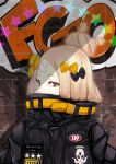 1girl abigail_williams_(fate/grand_order) bangs black_bow black_jacket blonde_hair blue_eyes bow brick_wall commentary_request copyright_name covered_mouth crossed_bandaids fate/grand_order fate_(series) graffiti hair_bow hair_bun heroic_spirit_traveling_outfit highres idoke_kaeru jacket looking_at_viewer orange_bow parted_bangs polka_dot polka_dot_bow solo star upper_body