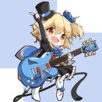 1girl :d arm_up bangs black_dress black_gloves black_headwear blonde_hair blue_background blue_bow blue_cape blush boots bow cape commentary_request dress electric_guitar eyebrows_visible_through_hair fingerless_gloves frilled_dress frills full_body girls_frontline gloves guitar hair_between_eyes hair_bow hat high_heel_boots high_heels highres holding holding_instrument instrument kneehighs matsuo_(matuonoie) mini_hat mini_top_hat mismatched_gloves nagant_revolver_(girls_frontline) open_mouth puffy_short_sleeves puffy_sleeves red_eyes short_sleeves smile solo standing striped striped_gloves striped_legwear tilted_headwear top_hat two-tone_background vertical-striped_gloves vertical-striped_legwear vertical_stripes white_background white_footwear white_gloves