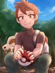 1boy backpack bag brown_eyes cubone forest log nature pokemon pokemon_(game) pokemon_lgpe shin_(pokemon) short_hair sitting smile tree turtleneck