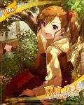 blush brown_eyes brown_hair character_name futami_mami idolmaster_million_live!_theater_days kimono long_hair side_ponytail smile